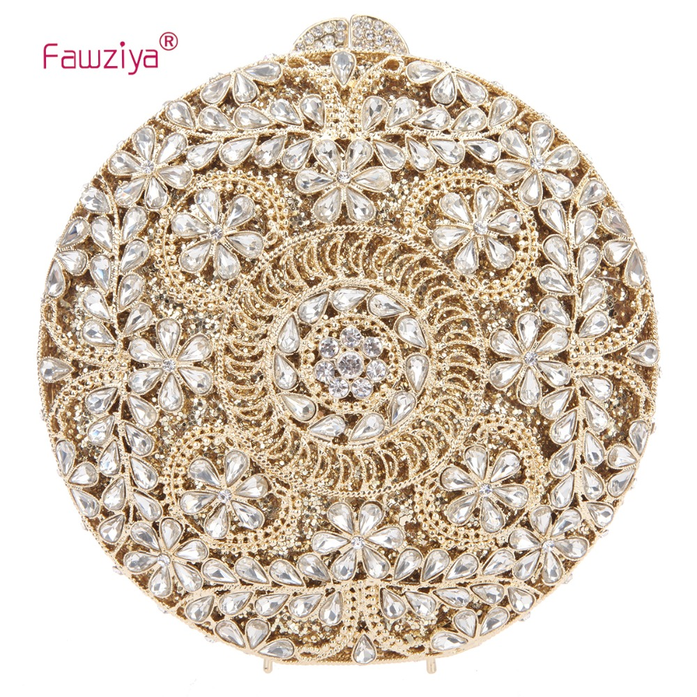Fawziya Round Flower Purses For Women Crystal Evening Clutch Bag fawziya apple clutch purses for women rhinestone clutch evening bag