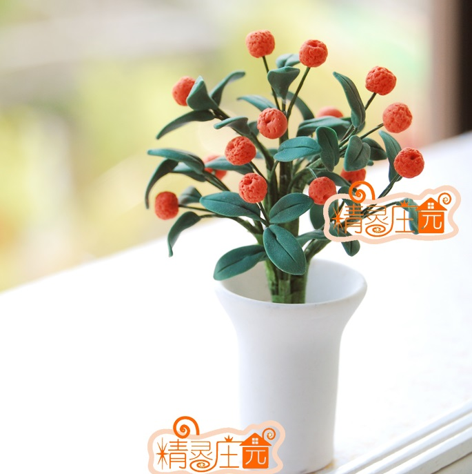 mini doll hou mini furniture accessories plants of modern white pot
