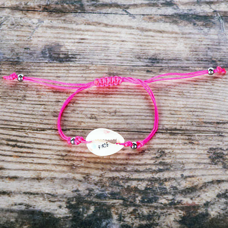 Радужная ракушка, очаровательный браслет, детский тканый ручной работы, веревка, красный стиль, ракушка, браслет, ювелирное изделие для женщин, богемный стиль, модный браслет, подарок