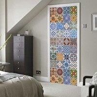 3D Sticker ceramic Door Wall Sticker 2pcs 77*200cm DIY Mural Bedroom Home Decor Poster PVC Waterproof Door Sticker Imitation