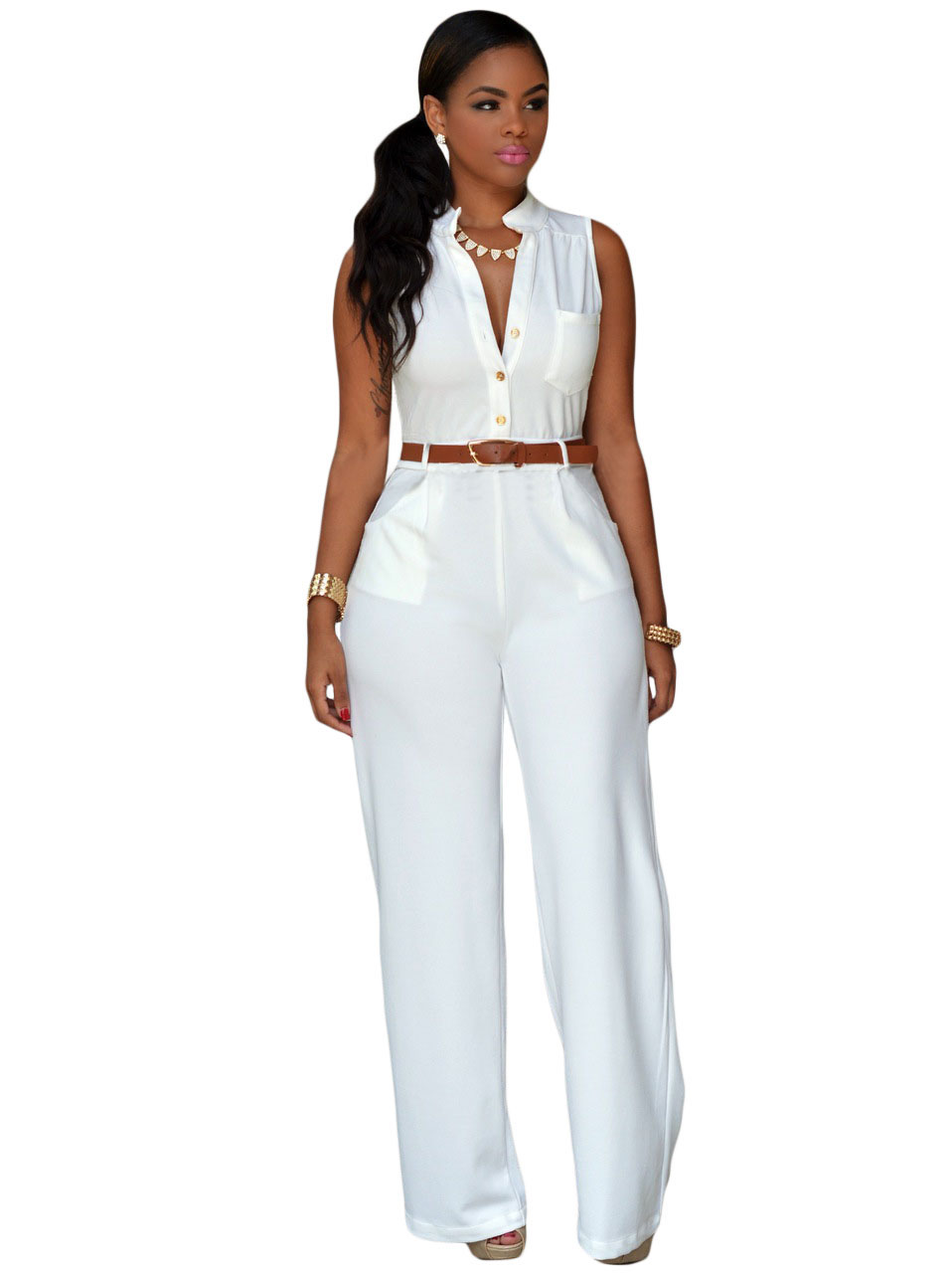 ac9ebb6b6bca 2016 New Summer Women s Sleeveless Light Blue Black Yellow Red White Rosy  Belted Wide Leg Jumpsuit LGY60932 Plus Size-in Jumpsuits from Women s  Clothing   ...
