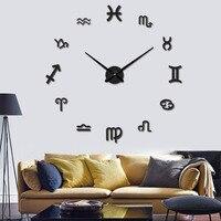 DIY Douze Constellations Simple Innovante Horloge Murale 3D Autocollants Décor Grand Acrylique Plaque Horloge Murale pour Chambre Salon