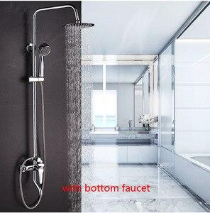 Image 3 - Dofaso Bathroom Rain shower sets bath tap shower faucet Chrome bath set faucets Rain And Waterfall Showers Water Saving