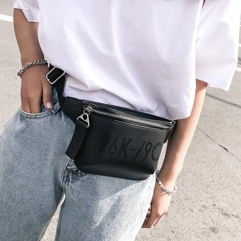 2018 PU Leather black Waist Bags Women Designer Fanny Pack Fashion Belt Bag Female Mini Waist Pack Messenger Bolsa New Coin bag