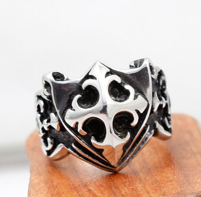 Vintage Antique Silver Cross Knights Rings For Men Biker Jewelry Alloy Male Knuckle Finger Ring Bague Homme Anillos Hombre