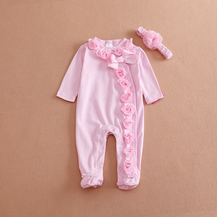 Infant Baby Girls clothes Pink Flowers baby clothing set warm long sleeve rompers headband Toddler sleep and play Fleece pajamas