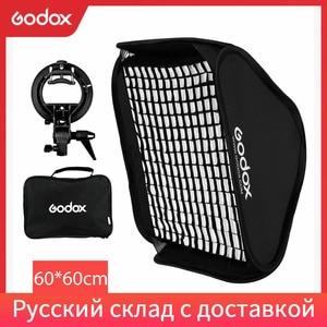 Image 1 - Godox 60x60 cm 24*24 inch Griglia A Nido Dape Softbox + S tipo di Staffa di Montaggio Bowens Mount Kit per Canon Nikon Speedlite Flash Softbox