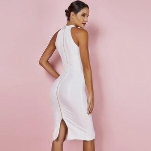 Image 4 - Ocstrade Sexy Women White Bandage Dress 2019 New Arrivals Striped Halter Midi Bodycon Dress High Quality Bandage Rayon Dress