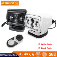 1pc 7 60W Led Remote Control Searchlight 7inch 12v Spot LED Work Searching Light For TRUCK