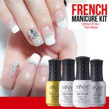 HNM 4 шт французские наконечники Розовый Белый УФ-набор гель-лаков для ногтей топ и Базовое покрытие для ногтей гель Vernis Полупостоянный гель лак DIY Дизайн ногтей