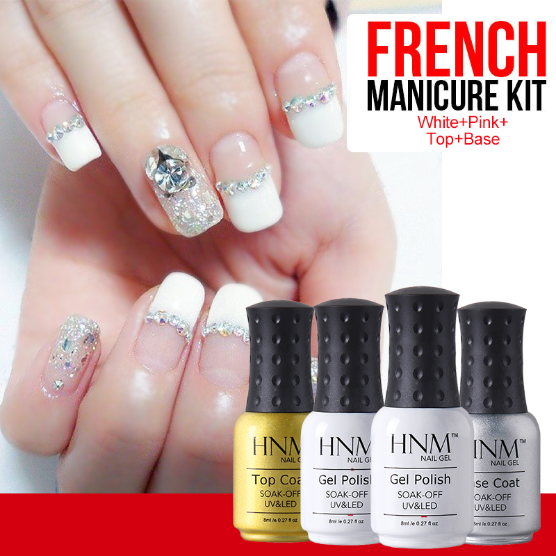HNM 4pcs French Tips Pink White UV Gel Nail Polish Set Top And Base ...