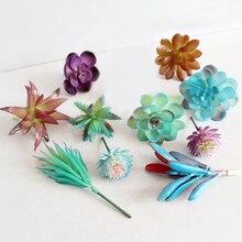 Mixed Artificial Succulents Set Of 11 Stems Faux Mini Succulent Plants Plastic Unpotted Arrangements For Home Decor