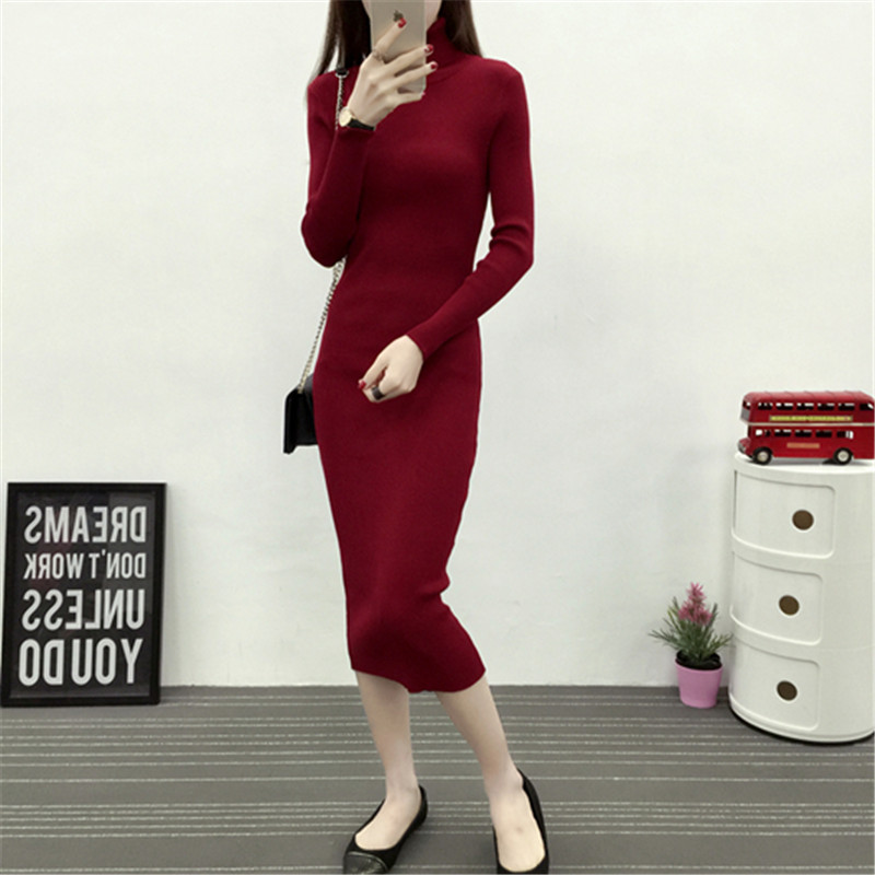 New Autumn Winter Women Knitted Dress Turtleneck Sweater Dresses Lady Slim Bodycon Long Sleeve Bottoming Dress Vestidos PP003 5