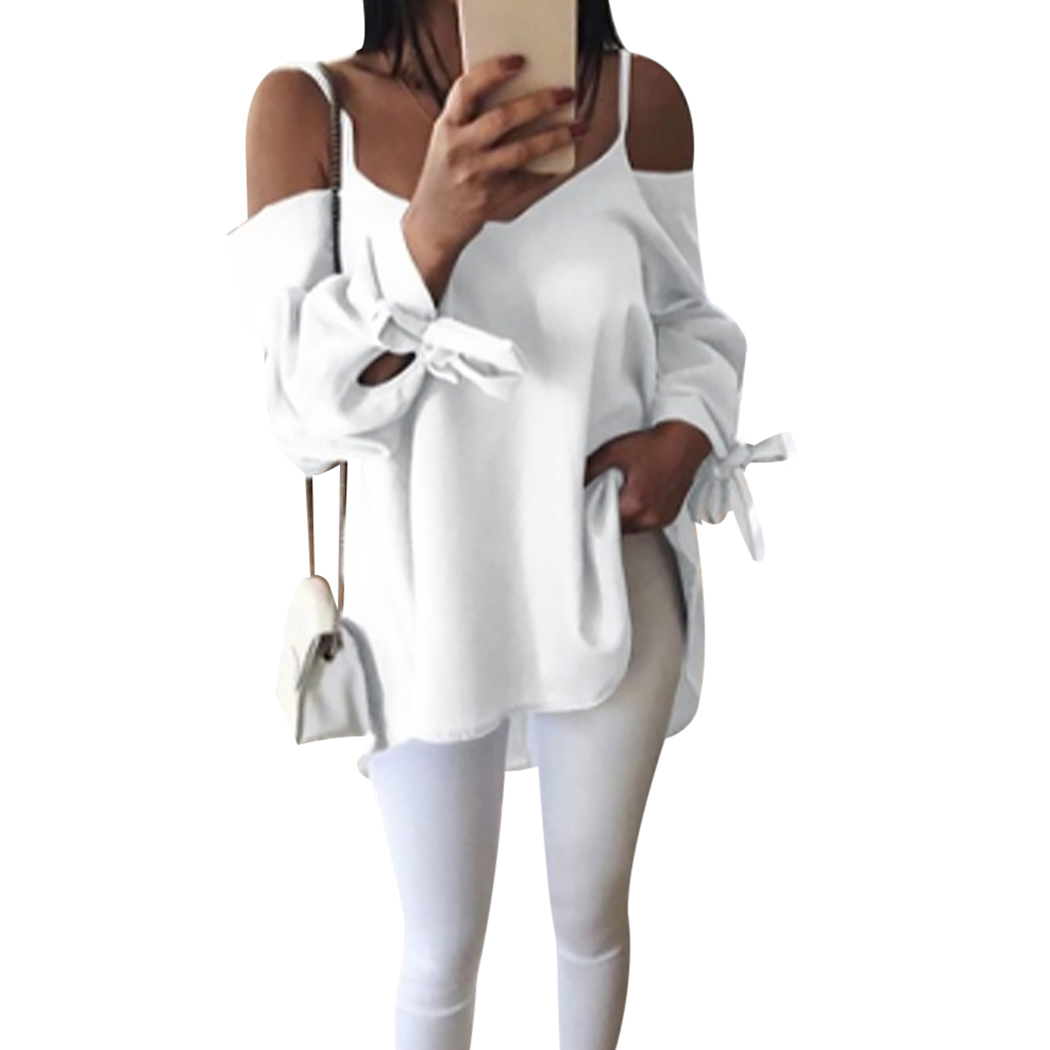 Sexy Off Shoulder Women Blouses Long Sleeve Bandage Loose Tops Plus Size Casual Solid Color Ladies Office Shirt Blusas L-4xl Good Heat Preservation Blouses & Shirts