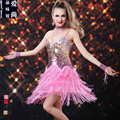 Lady Latin Dance Costumes Sequins Tassel Adult Latin Dance Dress Women Cha-Cha Samba Dancing Uniform B-4201