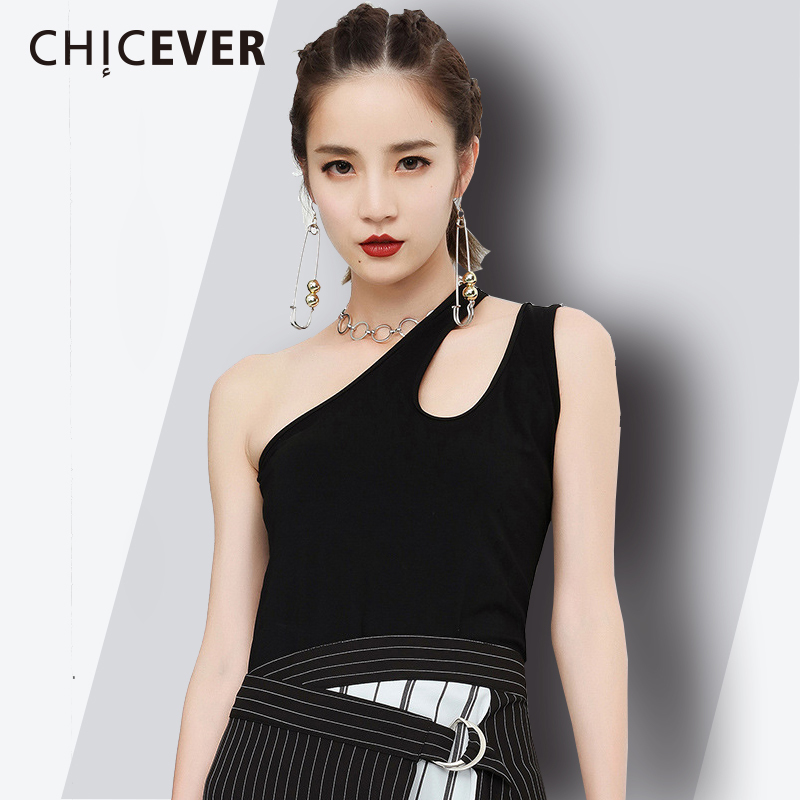 CHICEVER Off Shoulder Black Womens Vest Hollow Out O Neck Sleeveless Summer Irregular Fashion Slim Tank Tops 2018 New Tide