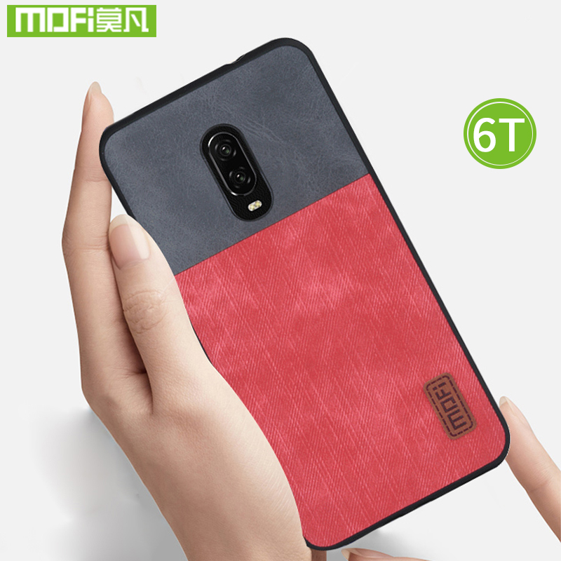 For Oneplus 6T Case One plus 6T Case Cover 6 T silicone Jeans Leather Magnetic Car Holder Original Mofi For Oneplus 6T Case 360