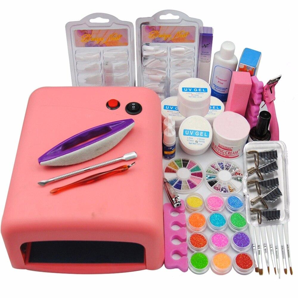 36w uv lamp UV Gel false nail tips topcoat primer Buffer cleanser Plus brush cleanser plusglitter decorations tools kit