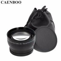 CAENBOO 2.0x52mm 55mm 58mm 62mm Digital de Alta Definição 2.0X Telephoto Lente Da Câmera Para Canon EOS Nikon Para Sony acessórios