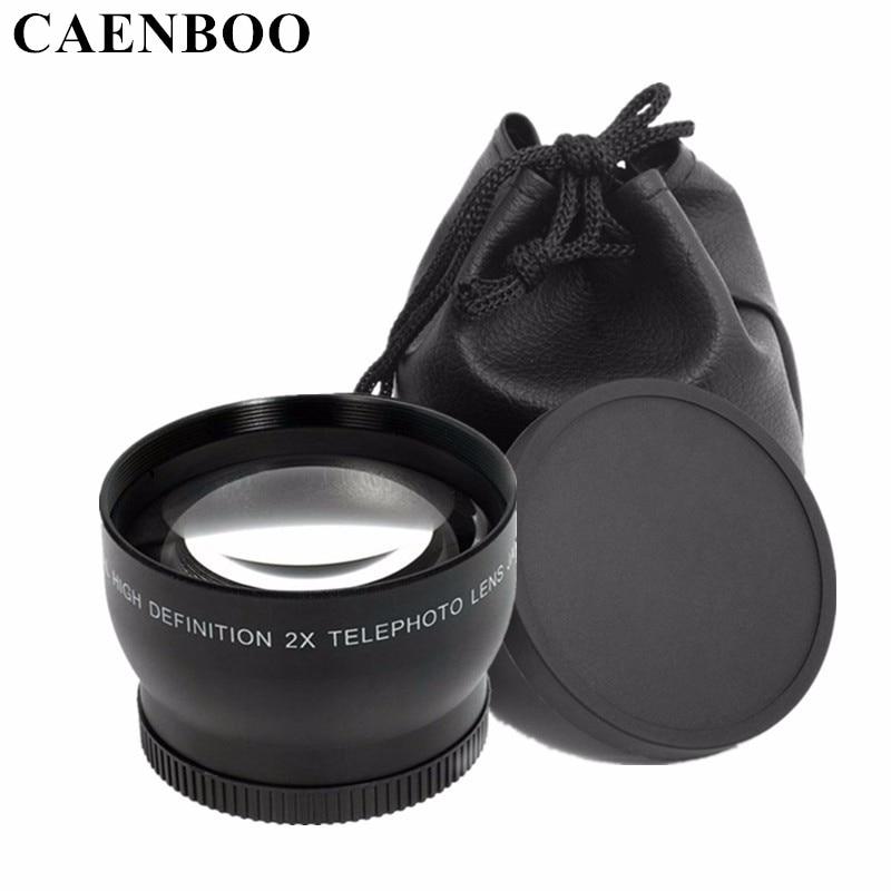 CAENBOO 2.0x52mm 55mm 58mm 62mm Numérique Haute Définition 2.0X Téléobjectif Appareil Photo Pour Canon EOS Nikon Pour Sony Accessoires