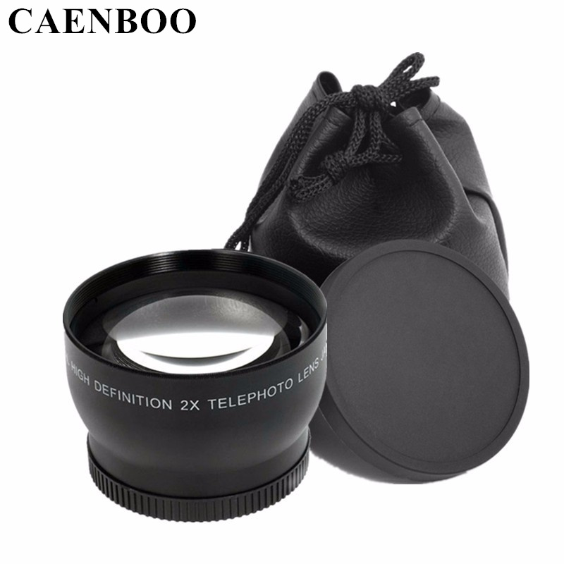 CAENBOO 2.0x52mm 55mm 58mm 62mm Numérique Haute Définition 2.0X Téléobjectif Camera Lens Pour Canon EOS Nikon Pour Sony accessoires
