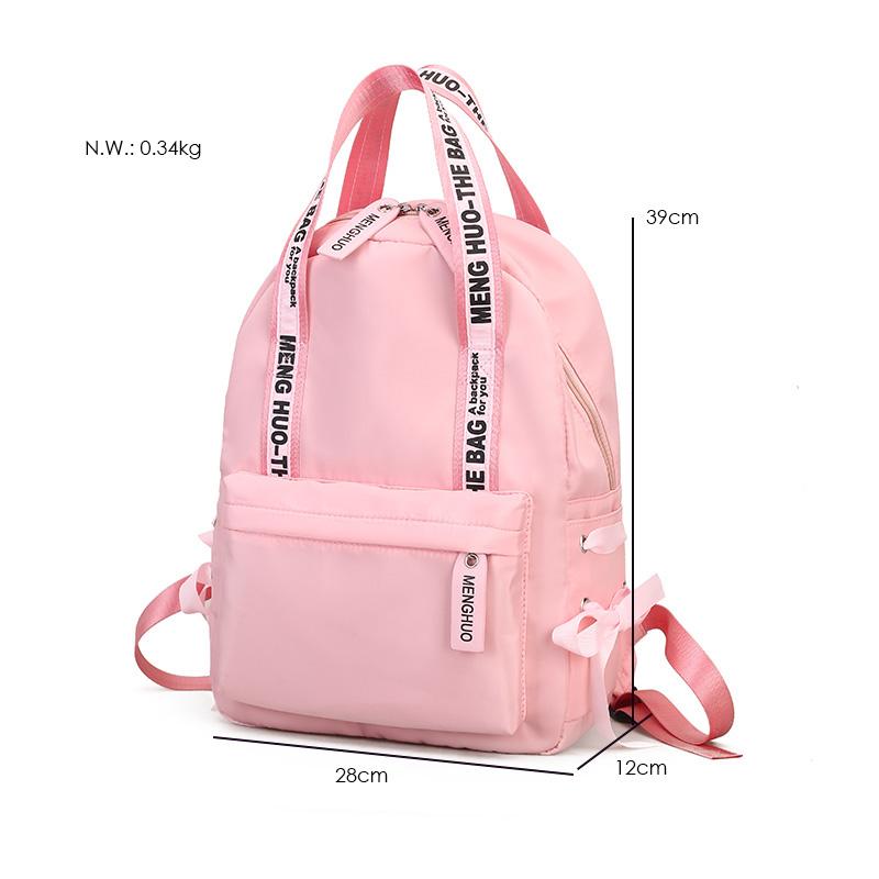 Menghuo Large Capacity Backpack Women Preppy School Bags For Teenagers Female Nylon Travel Bags Girls Bowknot Backpack Mochilas (5)
