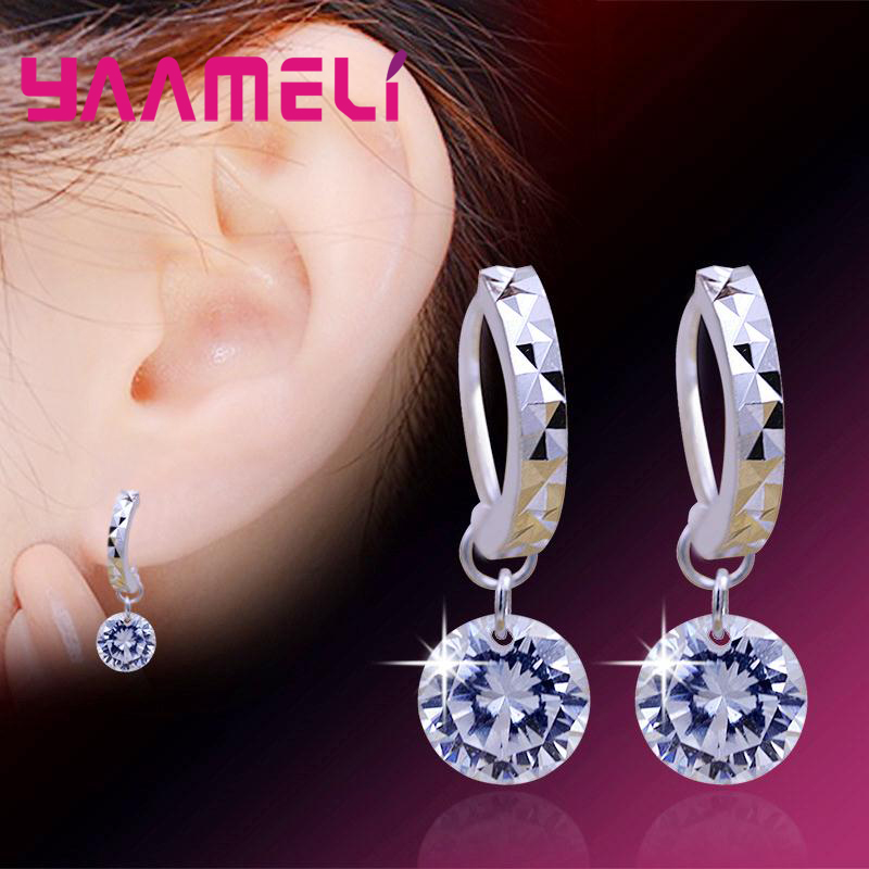 Big Discount Genuine 925 Sterling Silver 8 Colors Shiny Cubic Zirconia Dangle Earrings Crystal Jewelry For WOmen Ladies 4