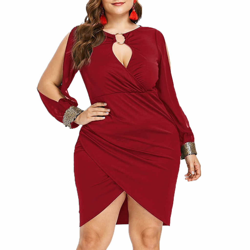 Split Mouw Plus Size O-Ring Sequin Verfraaid Bodycon Jurk Elegante Effen Slip Voorzijde Mini Party Jurk 5XL Fall vestidos jan9