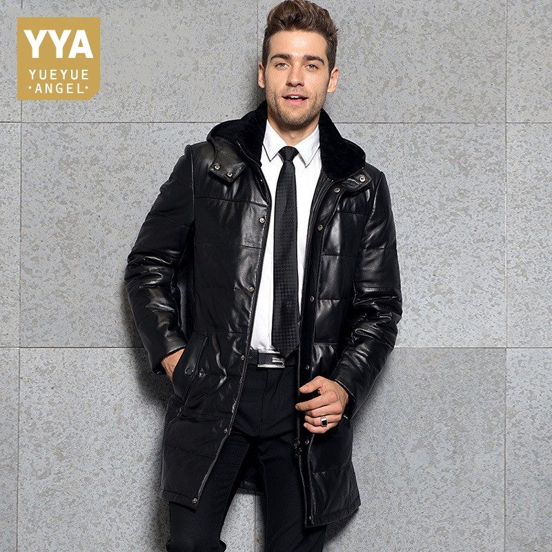 Business Man Winter Outwear Long Down Jacket Parka Hooded Windbreaker Genuine Leather Overcoats Mens Office Work Trench Coats