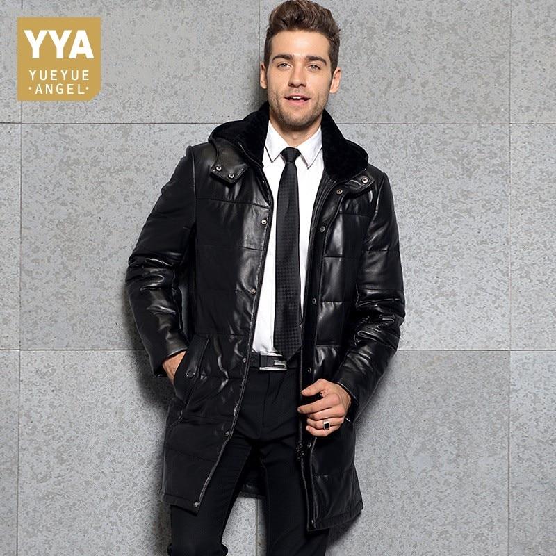 Business Man Winter Outwear Long Down Jacket Parka Hooded Windbreaker Genuine Leather Overcoats Mens Office Work