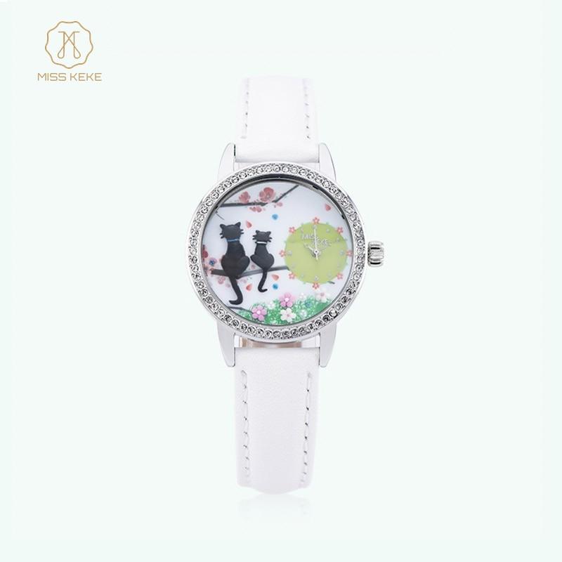 MISSKEKE Klei Leuke 3d kinderen Kat Horloges Strass lederen Klok Vrouwen Horloge Dames Quartz Horloges Relogio Feminino 663