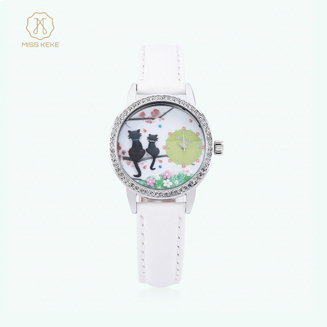 MISSKEKE Clay Cute 3d children Cat Watches Rhinestone leather Clock Women Watch