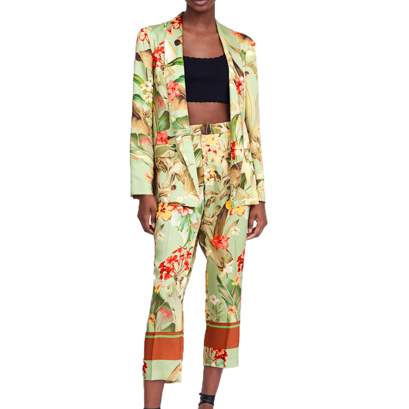 Spring blazer set 2019 casual printing womens clothing 2 piece set women long sleeve two piece set top and pants