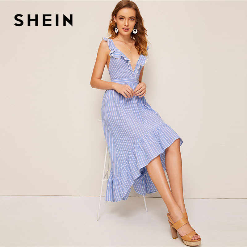 SHEIN Полосатое Модное Платье С Кружевом И Оборкой Асимметричное Платье Со Шнуровкой На молнии