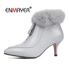 ENMAYER Women Ankle boot short boots women pointed toe zipper thin heel ankle lady solid fur botas mujer Size 34-39 CR1714