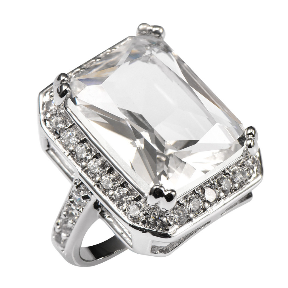 White Crystal Zircon With Multi White Crystal Zircon 925 Sterling Silver Ring For Women Size 6 7 8 9 10 11 F1482 equte rssw28c1s7 elegant women s titanium steel zircon ring silver usa size 7