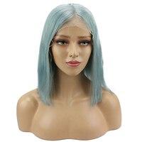 13x6 светло зеленый Синтетические волосы на кружеве парики натуральные волосы Средний глубокий часть 150 плотность бразильский натуральная н