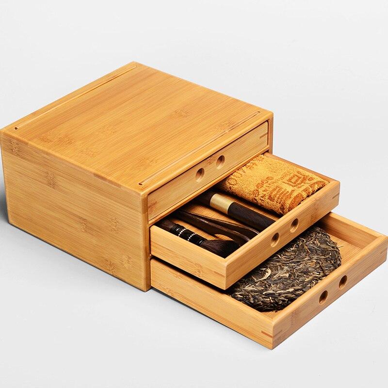 Pu'er thé boîte de rangement en bambou pour Puer thé gâteau armoire avec tiroir une deux trois couches pour service à thé outils