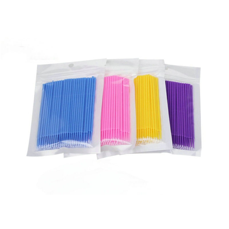 100pc/lot Micro Brushes Eye Lash Glue Brushes Eyelashes Extension Lint Free Disposable Applicators Sticks Makeup Tools