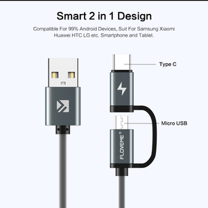 Image 2 - FLOVEME QC3.0 USB نوع C كابل لسامسونج غالاكسي نوت 9 S9 2.8A مايكرو USB كابل 2 في 1 سريع تهمة USB C كابل ل Redmi نوت 7