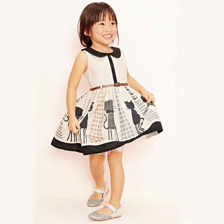Hot sale sweet Baby Kids Girls Dress Cat Belt Party ball Gown tulle Formal Dresses cute kid cartoon print dresses Outfits 2-7Y