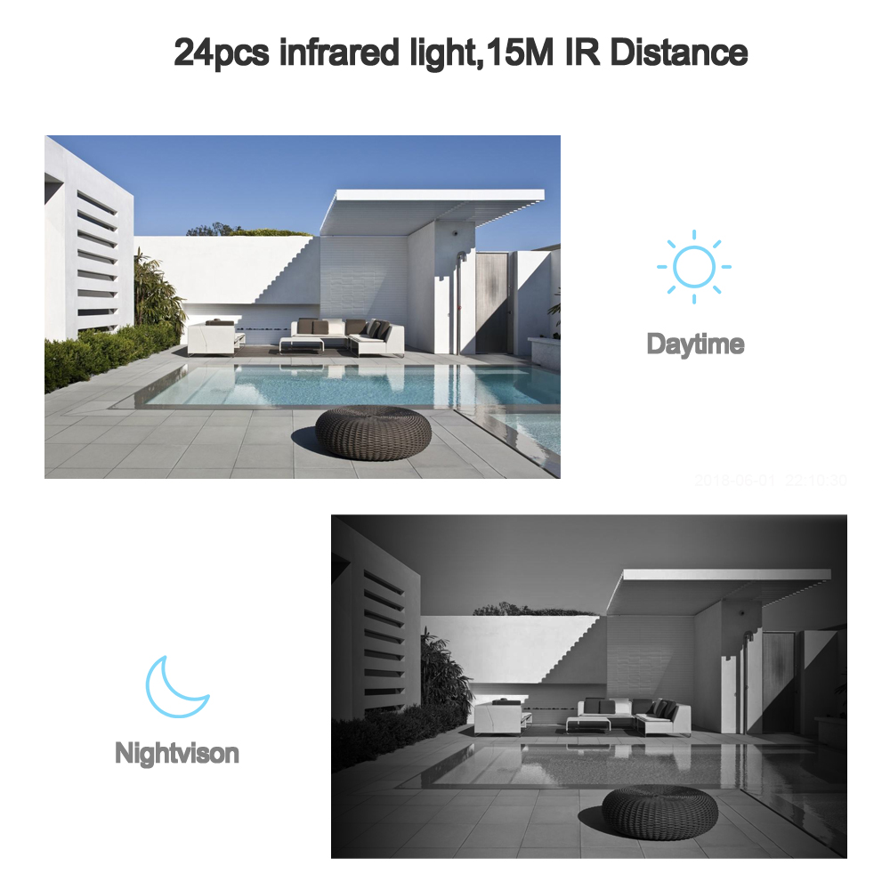 Image 5 - Hamrolte ONVIF IP Camera 2.8mm Lens Wide Angle 1080P Outdoor Nightvision Surveillance IP Camera Motion Detection Remote Access-in Surveillance Cameras from Security & Protection
