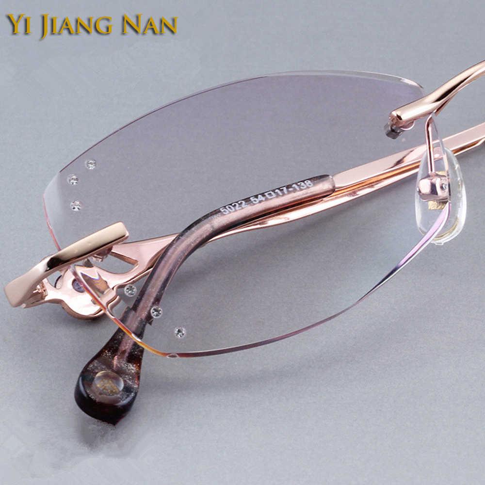 Yi Jiang Nan marca diamante recortado sin montura de titanio gafas montura mujeres gafas de moda diamantes de imitación púrpura lentes
