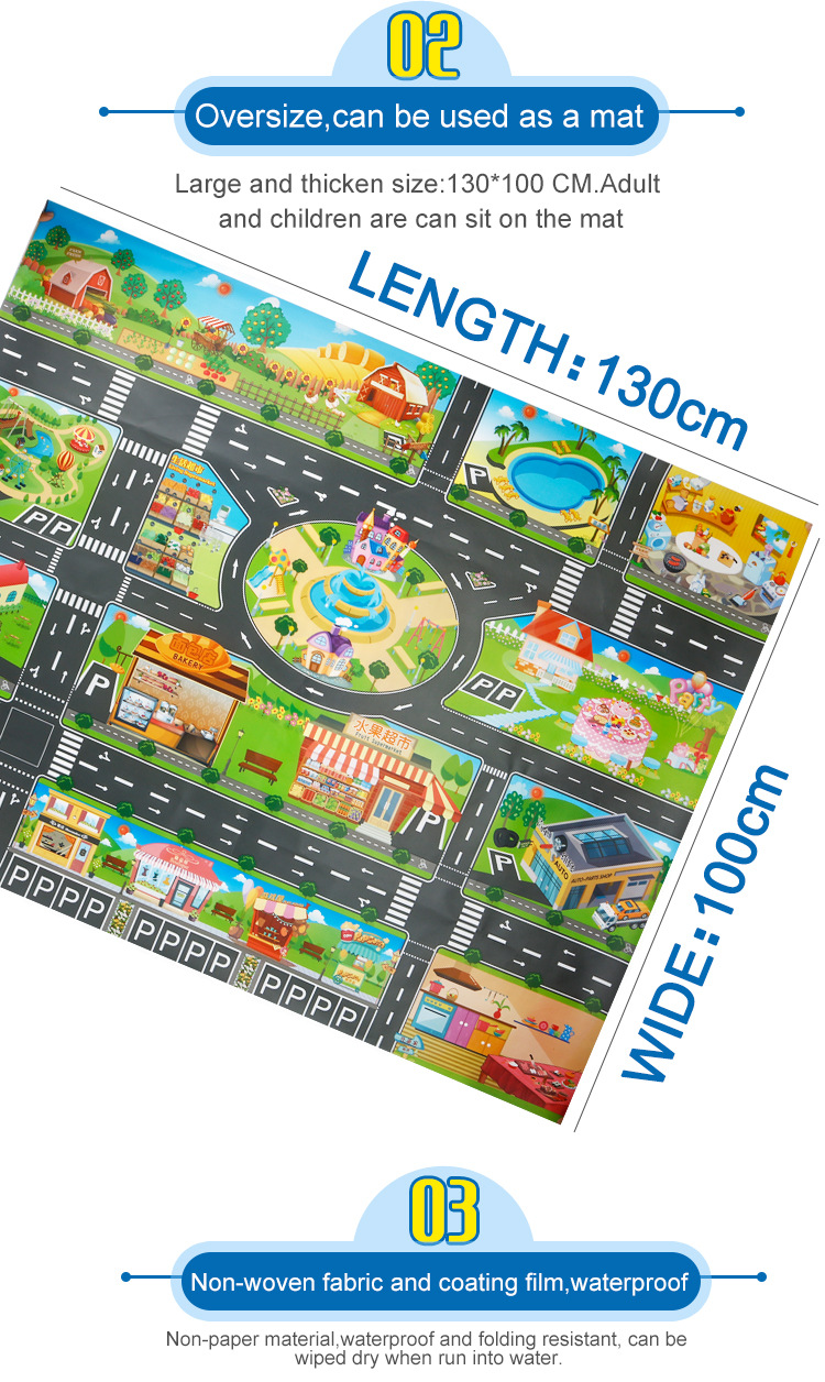 HTB1LFp3camWBuNkHFJHq6yatVXao 39Pcs City Map Car Toys Model Crawling Mat Game Pad for Children Interactive Play House Toys (28Pc Road Sign+10Pc Car+1Pc Map)