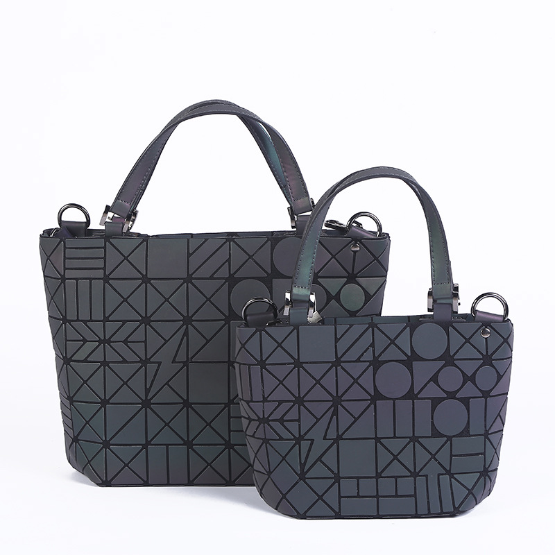 Maelove Luminous bag Fashion Geometric Folding Tote Quilted Shoulder Bags Laser Plain Handbags Free Shipping Luminous black plain cold shoulder