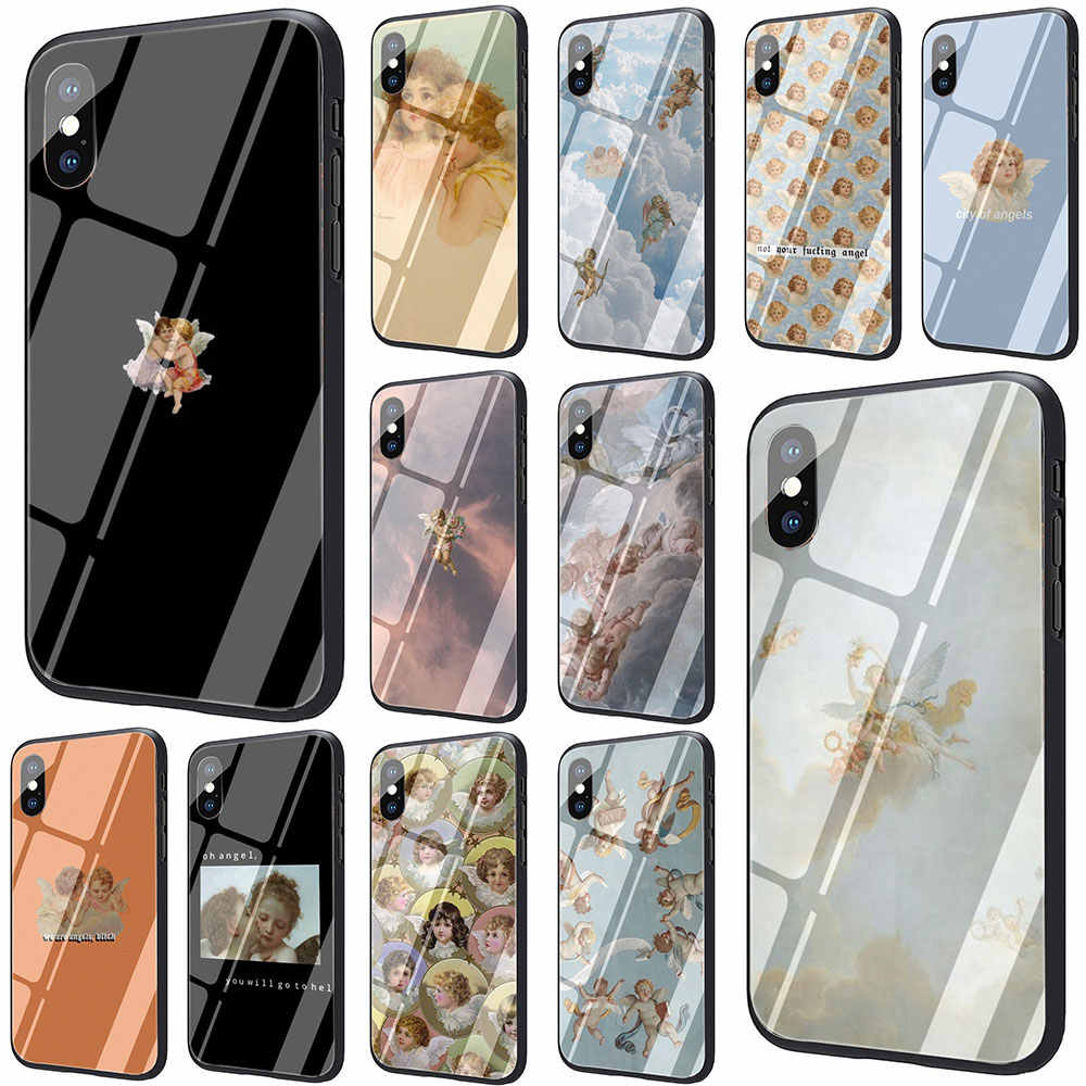 Renaissance angels Novelty Fundas กระจกนิรภัยสำหรับ iPhone 6 6S Plus 7 7 Plus Plus XS XR XS Max