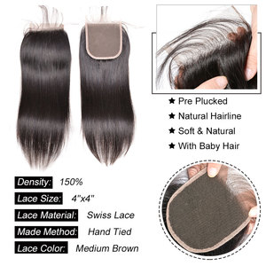 Image 3 - Straight Hair Bundles With Closure Peruvian Hair Weave Bundles With Closure Sunlight Human Hair Bundles Non Remy Hair Extensions