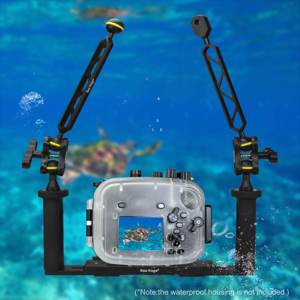Dual Handle Aluminum Alloy Underwater Camera Housing Tray Stabilizer With Floating Arms FlashLight Support Diving Photograph DEC