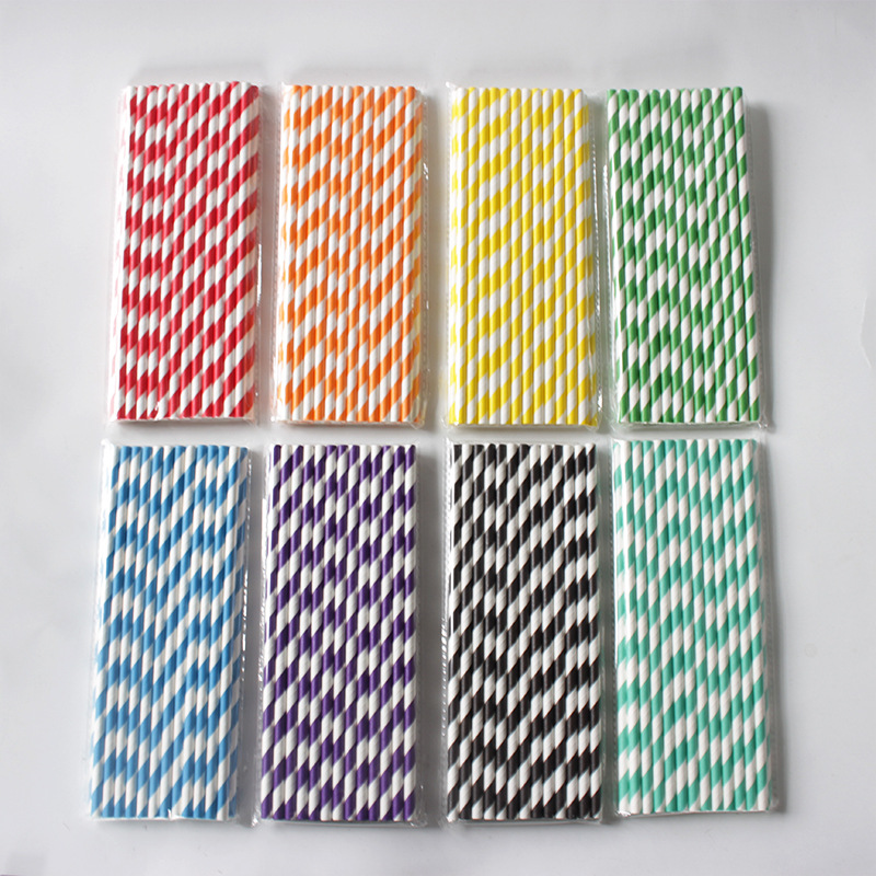 25pcs Disposable Paper Straws Colorful Striped Paper Straws Baby Shower Kids Birthday Christmas Wedding Party Decor Supplies
