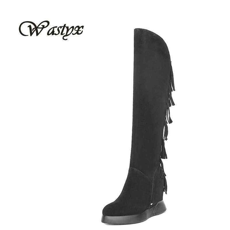 Wastyx women boots fashion over the knee high boots platform heel shoes woman fringe winter warm boots round toe zapatos mujer wastyx new winter over the knee boots sexy super high women boots thin heel shoes woman fashion round toe sapato feminino 34 48